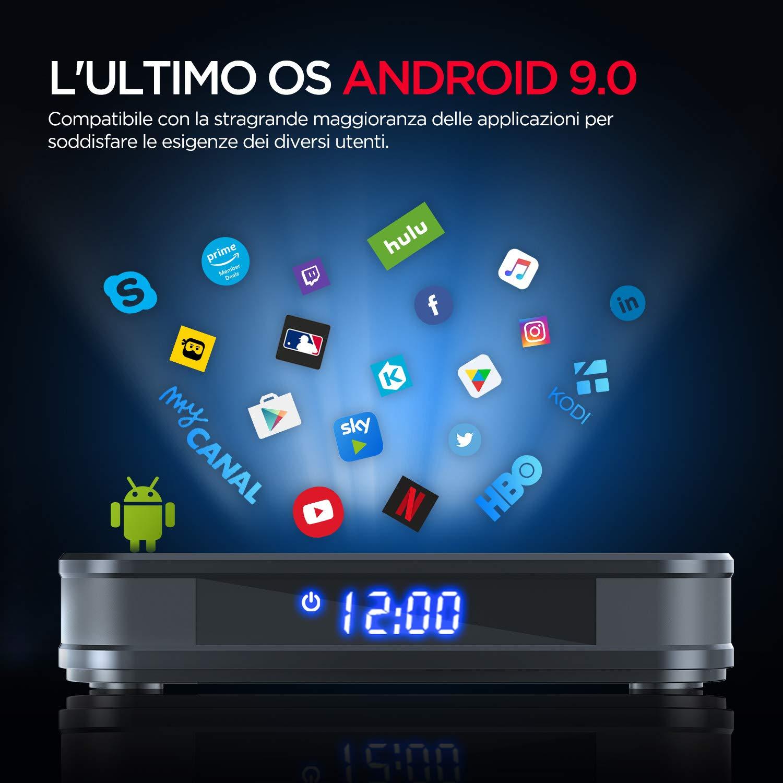 Android TV Box, BOMAKER 【4GB RAM + 64GB ROM】 Smart TV Box Android 9.0, Dual WiFi 2.4GHz / 5GHz, Admite 4K 3D, USB 3.0, Ultra H.265, Bluetooth 4.0, Quad-Core 64-bit Arm Cortex-A53,