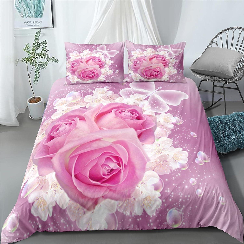 dsgsd Duvet Cover Queen Size Plant Pink Rare Rose security Printe 230×230cm