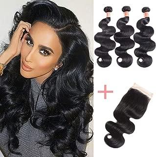 10A Brazilian Virgin Body Wave Hair 3 Bundles with Closure 100% Unprocessed Brazilian Body Wave Human Hair With Free Part Lace Closure Brazilian Body Wave Hair Extensions (16 18 20+14