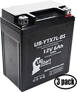 3-Pack Replacement for 2000 Honda CMX250C Rebel 250CC Factory Activated, Maintenance Free, Motorcycle Battery - 12V, 6Ah, UB-YTX7L-BS