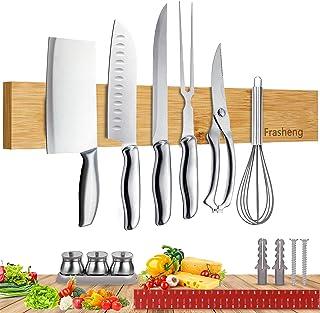 Frasheng Porte Couteaux Aimanté,Porte Couteau Bois naturel,Barre À Couteaux Aimanté Bois Cuisine,Installer avec Vis ou Rub...