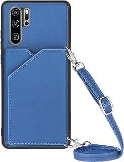 Lanyard plånbok kreditkortsfodral mobiltelefonfodral för Huawei P30 Pro (blå)