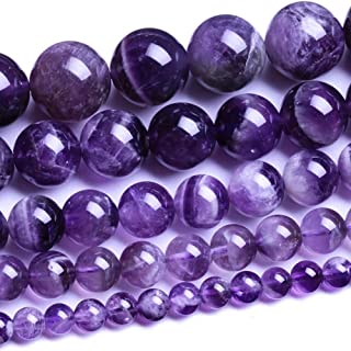 Natural Round Amethyst Agate Loose Stone Beads Bulk For Jewelry Making 4MM, 6MM, 8MM, 10MM ,12MM (6MM)