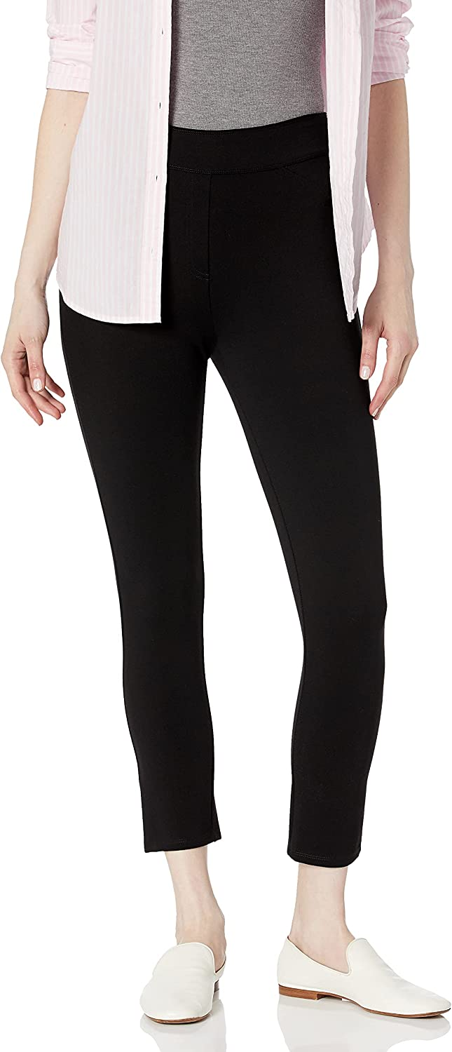 SLIM-SATION Women's Wide Elastic Pull on Solid Cool Hand Ponte Crop Leggings with Faux Front Pockets