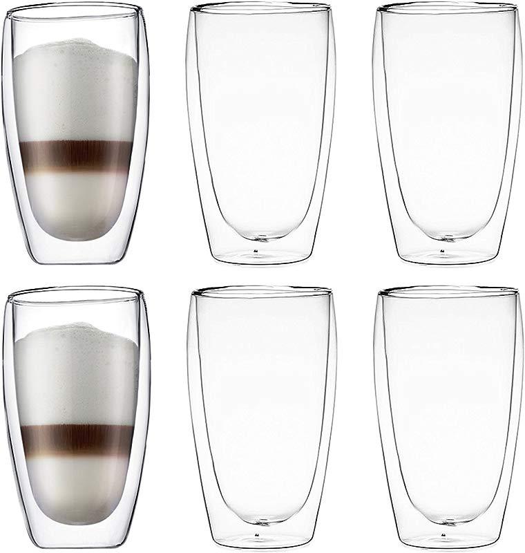 Bodum Pavina Double Wall Insulated 15 Ounce Glasses Set Of 6
