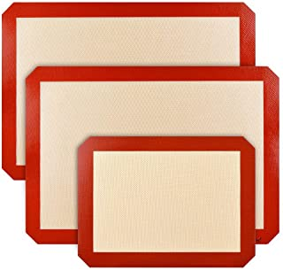 """Zjcpow Tapis de Cuisson Set de Tapis de Cuisson en Silicone de 2 Demi-Feuilles (16-1/2""""x 11-5/8"""") Cookie Pizza Pain"""
