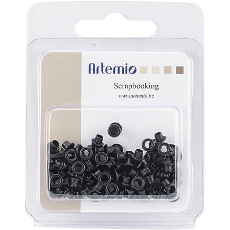 Artemio 11006190 Set de 100 Mini Œillets Classiques, Métal, Noir, 7,3 x 1,9 x 8,9 cm