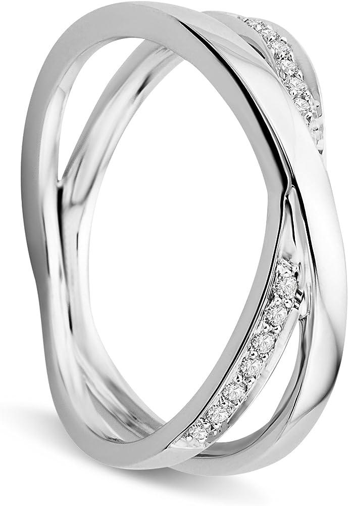 Orovi anello per donna in oro bianco 9 kt / 375 (2.782 gr )e con diamanti taglio brillante 0.19 ct OR81030R52