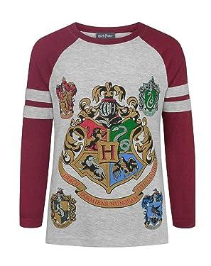 Harry Potter Childrens Girls Hogwarts Raglan T-Shirt