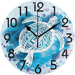 Dozili Trendy Sea Turtle in Maori Tattoo Style Print Round Wall Clock Arabic Numerals Design Non Ticking Wall Clock Large for Bedrooms,Living Room,Bathroom