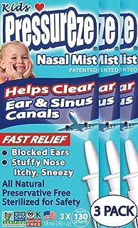 Pressureze Nasal Spray Mist for Kids 18 ml -130 Sprays Each (3 Pack) - Fast, All Natural Relief from Sinus & Ear Pressure Symptoms, Congestion, Stuffy Nose, Blocked Ears, Nasal Drip