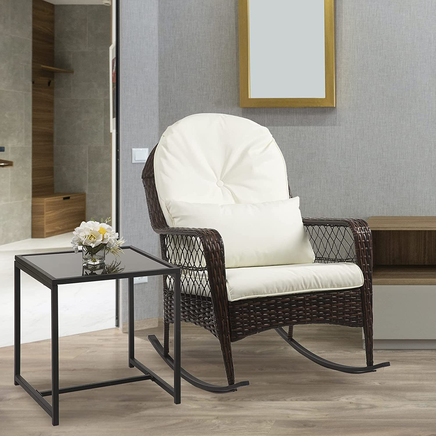 Charavector Wicker 定価の67%OFF Rocking Chair and Table Roc 2 Set Oudoor pcs 購入