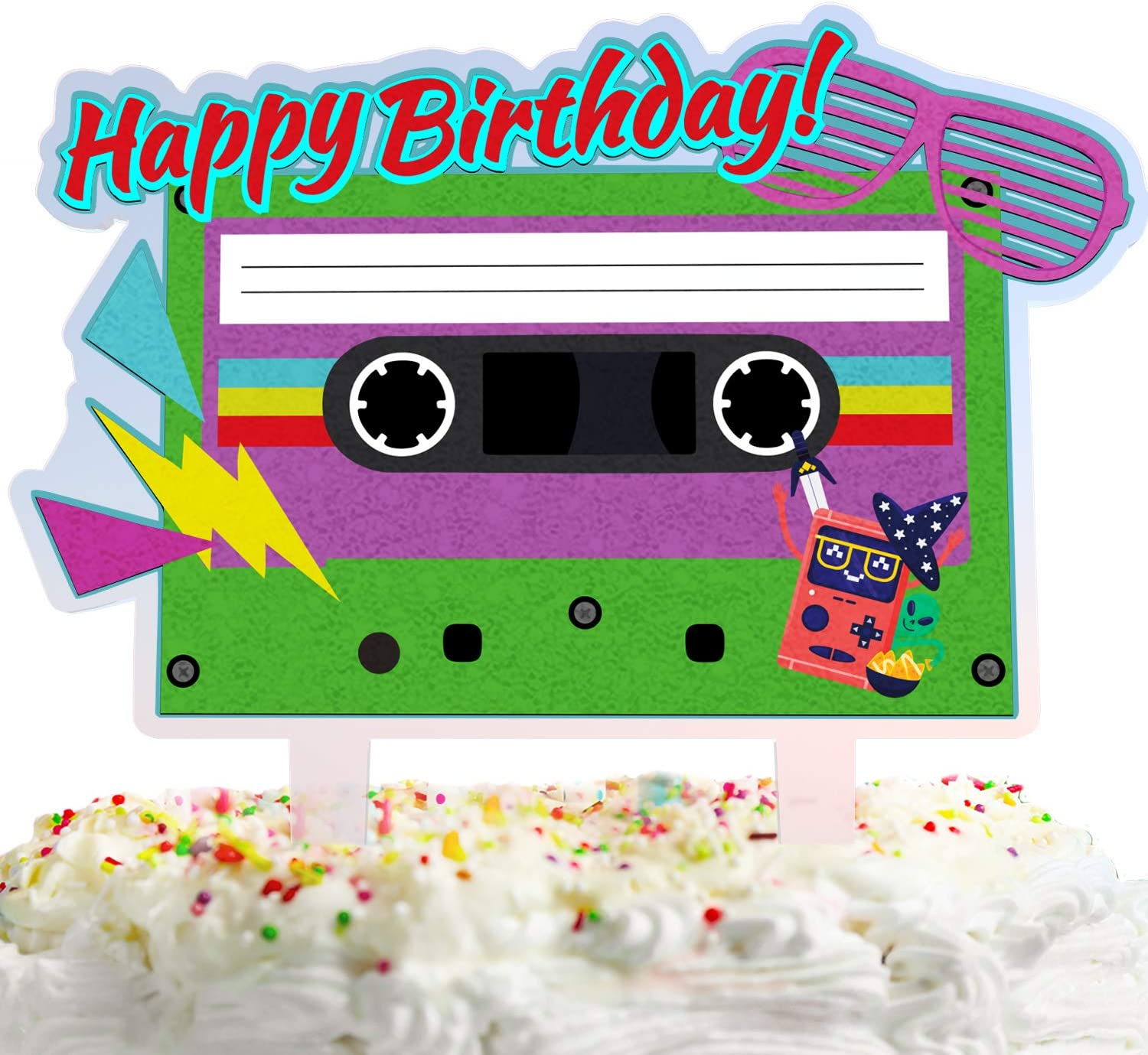 80's Retro Happy Max 69% OFF Birthday Cake with Max 90% OFF Decorations Magn Topper