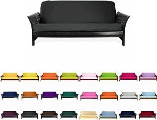 Magshion F Futon-F-Blk Colorful Cover Slipcover, Full Size, Black