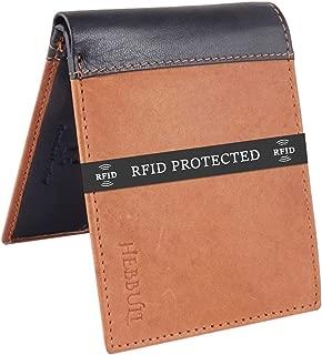 HEBBULI Wallet for Men Slim Genuine Leather Brown Black Branded Stylish Men Wallets RFID Blocking Anti Theft Purse for Men's