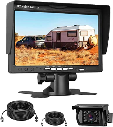 $79 Get Emmako HD 720P Backup Camera and 7'' Monitor Kit for Trucks,Trailers,RVs,High-Speed Rear Observation System Adjustable Rear/Front View, Guide Lines ON/Off, IP69K Waterproof
