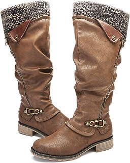 f8094346da979c Gracosy Bottes Fourrées Femmes, Bottes Hautes Fourrure Hiver Plates  Cuissardes en Cuir Synthétique Chaussures de