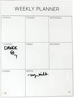"$63 » Glass Dry Erase Board - 12""x16"" Glass Magnetic Calendar - Marker & Magnets Included - Functional Weekly Planner - Desktop ..."