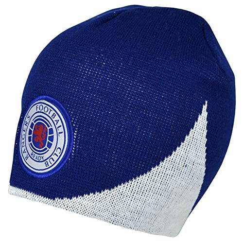 Rangers FC Official Wave Football Crest Knitted Beanie Hat d46ca4fee66