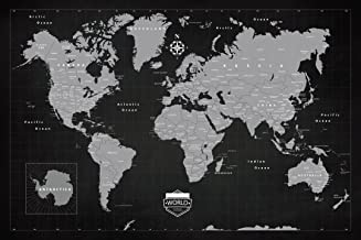 Premium World Travel Push Pin 24 x 36 Map With Pins by Emmel - Dark Slate Style and Framed - Track Your Adventures With a Premium Pinable Canvas and Cork Map