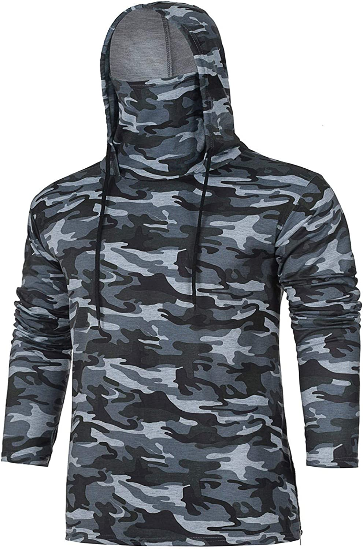 ZEFOTIM Mens Ma-sk Skull Pure Color Pullover Long Sleeve Hooded Sweatshirt Tops Blouse