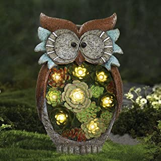 Garden Statue Owl Figurine - Resin Outdoor Statue with Solar Powered LED Lights for Patio Yard Decorations Lawn Ornaments, Fall Thanksgiving Decor, 10.5 x 6 Inch, Housewarming Gift