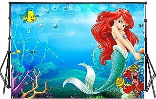 Sensfun 7x5ft Mermaid Theme Photography Backdrop Little Mermaid Princess Underwater World Photo Background for Children Happy Birthday Party Decor Portrait Photobooth Banner Photo Studio Props(SXY219)
