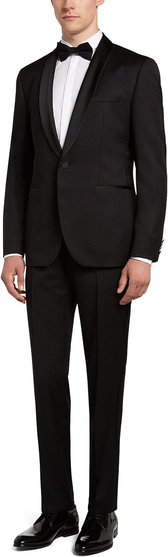 Hugo Boss Men's 'C-John/C-Saimen' Black Virgin Wool Tuxedo Suit 46 Long