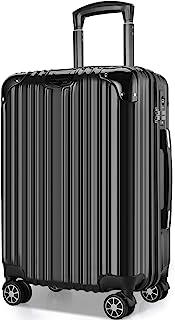 VARNIC スーツケース キャリーバッグ キャリーケース 機内持込 超軽量 大型 静音 ダブルキャスター 耐衝撃 360度回転 TSAローク搭載 ファスナー式 旅行 ビジネス 出張 (M サイズ(65L), 黒)