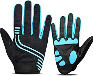 ANSOWQM Cycling Gloves for Men and Women Touch Screen, Full Finger Bicycle Gloves with 5MM Gel, Road/Mountain Bike Gloves, Shock Absorbing, Anti – Slip