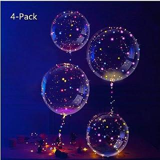IvyLife Globo LED Transparente con Luces Globos de Látex 18 Pulgadas con LED Muticolores, Innovadores Globos Románticos de Decoración para Fiesta, Cumpleaños, Boda, Navidad, Carnaval - 4 Piezas