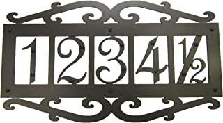 Classic Spanish Style Horizontal Wrought Iron Address Plaque Standard 5 Number APHS15