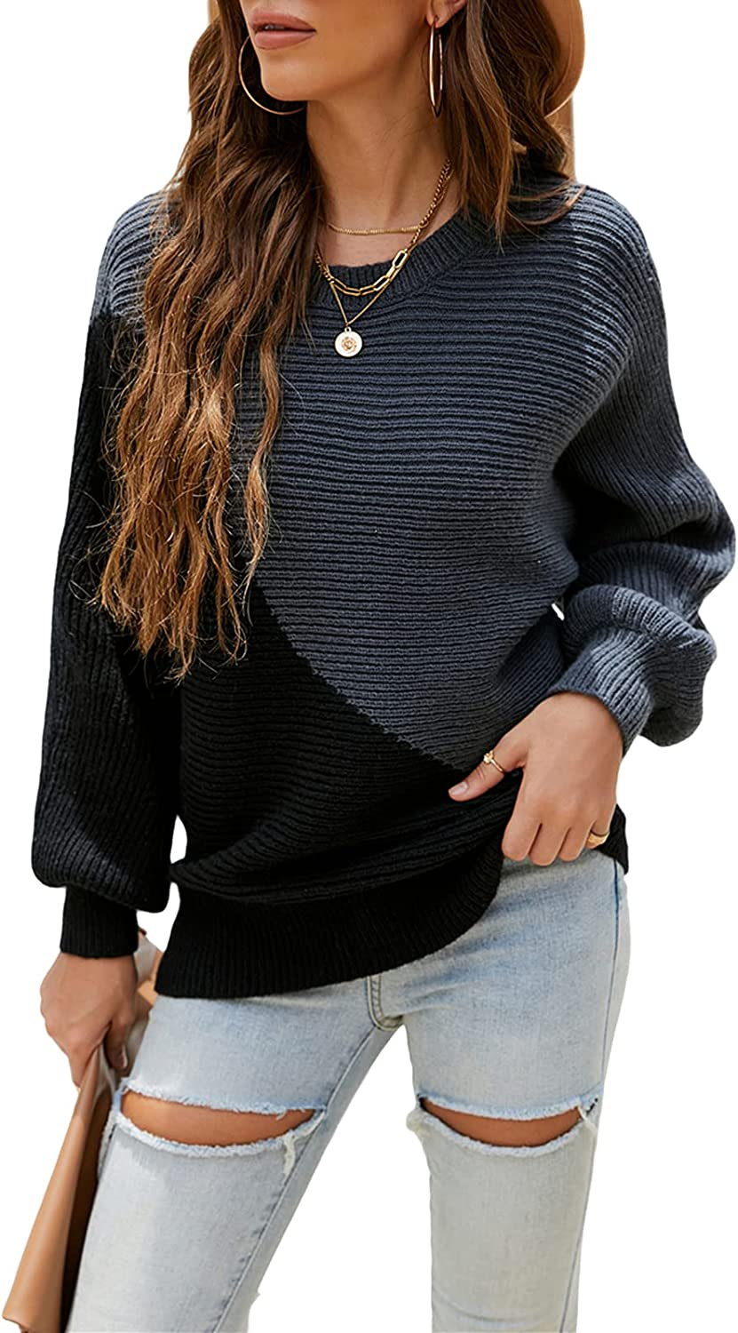 Women's lowest price Patchwork Sweater Long Sleeves 55% OFF Loose Knitted Neck Round