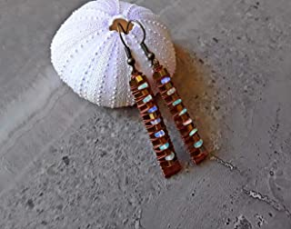 Welo Opal October Birthstone Boho Bar Earrings Bronze and Copper
