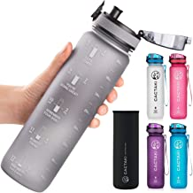 Cactaki 32oz Water Bottle With Time Marker, BPA Free, Non-Toxic, Leakproof, Durable (Grey)