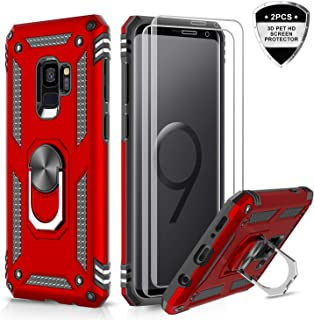 Samsung Galaxy S9 Case with 3D PET Screen Protector [2 Pack], LeYi [Military Grade] Magnetic Car Ring Holder Mount Kickstand Shock Absorption Defender Protective Phone Case for Samsung S9 JSFS Red