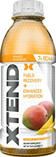 Scivation Xtend On The Go, Branched Chain Amino Acids, Bcaas, Zero Sugar Hydration & Muscle Recovery Drink with Electrolytes, Mango Madness, 16.9 Oz Bottles (Pack of 12)