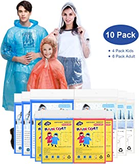 EZshoot Rain Ponchos for Family Pack Disposable Emergency Raincoat Drawstring Hood Poncho for Children and Adults Thicker Quality Material 100% Waterproof Emergency Rain Ponchos 6 Pack or 10 Pack