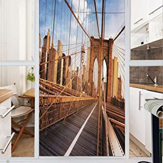 Decorative Window Film,No Glue Frosted Privacy Film,Stained Glass Door Film,Early Morning on Famous Brooklyn Bridge NYC Architecture,for Home & Office,23.6In. by 78.7In Light Brown Grey Light Blue