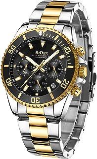 Reloj de pulsera para hombre con cronógrafo, de acero inoxidable, resistente al agua, con fecha, analógico, de cuarzo, moderno, para negocios