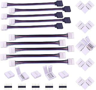Conector Tira LED RGBW 5 Pines Conector Esquina Banda LED Conector L Cinta LED Conector ángulo Recto 5 Pin Adaptador Splitter Rápido Divisor Extensión Cable Alargador Para RGBW LED Strip de 10mm Ancho