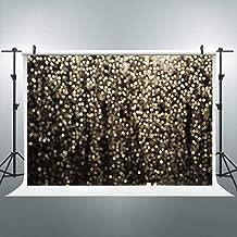 Riyidecor Golden Dots Backdrop Shiny Sequin Photography Background Glitter Gold and Black 7Wx5H Feet Decoration Celebration Props Party Photo Shoot Backdrop Vinyl Cloth