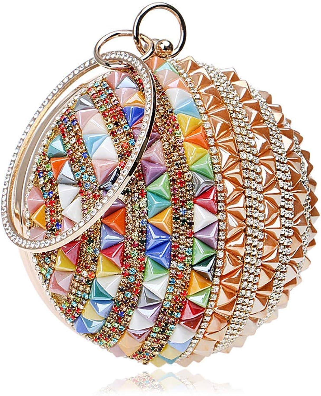 Soft Women Clutch Bag Rhinestone Crystal 3D Spherical Stereoscopic color Shoulder Crossbody Bags Card Holder Lady Prom Purse Evening Handbag Handbag (color   gold, Size   4.7X4.7X10.2INCH)