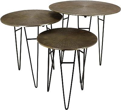 Cocoarm Juego de 3 mesas auxiliares de Tablero DM y Patas de Metal ...