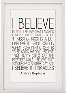 Four Leaf Clover Gift Shop Inspirational Audrey Hepburn Quote - 'I Believe in Pink' - Framed Print with Mount - 12 x 10 Inch.