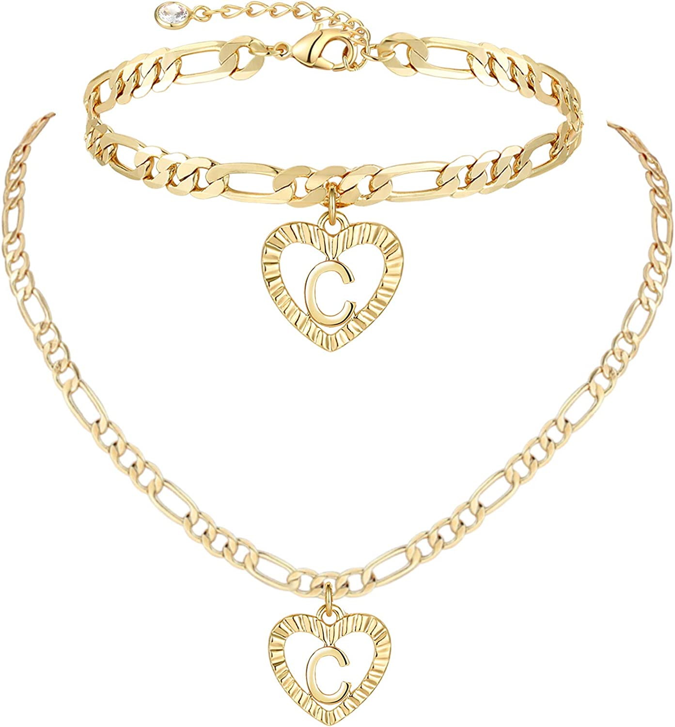 YANODA Gold Initial Pendant Necklace Anklet Bracelet for Women 14K Gold Plated Figaro Chain Letter Initial Heart Necklace Anklets Alphabet Foot Jewelry Personalized Gifts for Women Girls