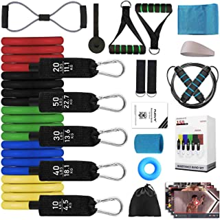 FUOVT Resistance Bands Set(18PCS), Workout Set with Door Anchor , Stackable Up to 150 lbs, with Cooling Wrisrbands,Jump Ro...
