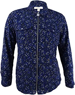 Michael Kors Women's Star Lock Zip Shirt (XXS, Bright Royal/Silver)