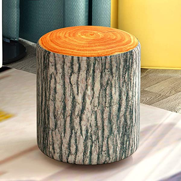 Round Kids Footrest Stool Bench Soft Plush Ottoman Foot Seat Washable Linen Fabric Cover For Children And Adults Tree Stump Large