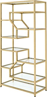 ACME Lecanga Bookshelf - - Clear Glass & Gold